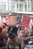 La demostración tradicional de Soekarno Sukoharjo de los comerciantes del mercado Imágenes de archivo libres de regalías