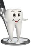 la dent 3d de sourire sur le miroir dentaire a isolé le graphisme Images libres de droits