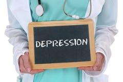 La depresión presionó al doctor sano de la salud de la enfermedad enferma de la quemadura Foto de archivo libre de regalías