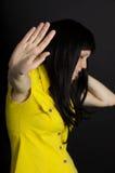La depresión, muchacha dice no Fotos de archivo libres de regalías