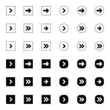 La derecha siguiente negra encima de flechas fijó la colección digital del botón de la muestra del logotipo de los iconos del ind ilustración del vector