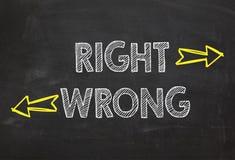 La derecha y mal del texto Concepto correcto e incorrecto de la información fotos de archivo libres de regalías