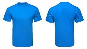 La derisione blu in bianco della maglietta sul modello, parte anteriore e vista posteriore, ha isolato il fondo bianco Immagine Stock