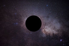 La derisione del buco nero davanti alla Via Lattea Immagine Stock