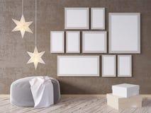 La derisione della parete interna del salone su con il sofà grigio del tessuto, i cuscini ed il natale star su fondo bianco, 3D l Immagini Stock