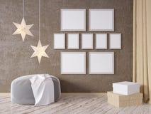 La derisione della parete interna del salone su con il sofà grigio del tessuto, i cuscini ed il natale star su fondo bianco, 3D l Fotografia Stock Libera da Diritti