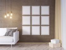 La derisione della parete interna del salone su con il sofà grigio del tessuto, i cuscini ed il natale star su fondo bianco, 3D l Fotografie Stock