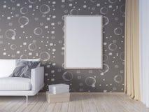 La derisione della parete interna del salone su con il sofà grigio del tessuto, i cuscini ed il natale star su fondo bianco, 3D l Immagine Stock Libera da Diritti