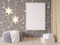 La derisione della parete interna del salone su con il sofà grigio del tessuto, i cuscini ed il natale star su fondo bianco, 3D l Fotografia Stock