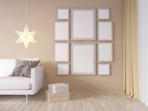 La derisione della parete interna del salone su con il sofà grigio del tessuto, i cuscini ed il natale star su fondo bianco, 3D l Immagine Stock