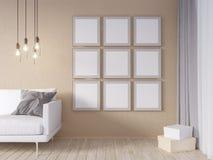 La derisione della parete interna del salone su con il sofà grigio del tessuto, i cuscini ed il natale star su fondo bianco, 3D l illustrazione di stock