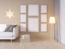La derisione della parete interna del salone su con il sofà grigio del tessuto, i cuscini ed il natale star su fondo bianco, 3D l Immagini Stock Libere da Diritti