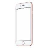 La derisione rosa su leggermente CW dello Smart Phone ha girato con lo schermo in bianco Fotografie Stock