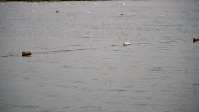La deriva buoys seguridad en el mar Mediterráneo para mantener marineros y a nadadores lejos de rocas peligrosas el agua metrajes