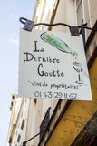 La Derniere Goutte wine shop sign in Paris, France Royalty Free Stock Photography