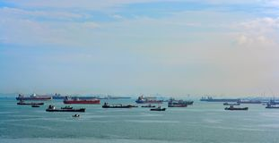 La derrota más ocupada de World's - estrechos de Malaca y de Singapo fotografía de archivo