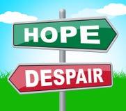 La desesperación de la esperanza muestra la exhibición y esperar deseosos stock de ilustración