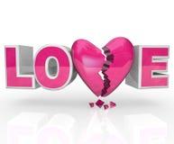 La desintegración de la palabra del corazón quebrado del amor termina lazo stock de ilustración