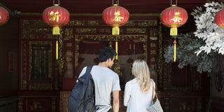 La destination de couples de coupure explorent le concept d'été de paix Photographie stock libre de droits