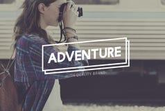 La destination de voyageur d'aventure explorent le concept de voyage photos stock