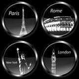La destinazione di viaggio badges le icone, l'insieme con Parigi, Londra, Roma e New York Immagine Stock