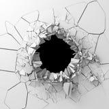 La destrucción oscura agrietó el agujero en la pared de piedra blanca Foto de archivo