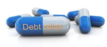 La dette détendent des pillules Photographie stock