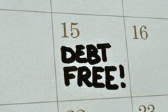 La deuda libera en calendario Fotografía de archivo libre de regalías