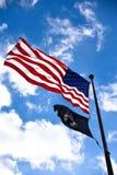 La deuxième guerre mondiale commémorative, drapeau américain à l'entrée Washington DC, Etats-Unis Photos stock