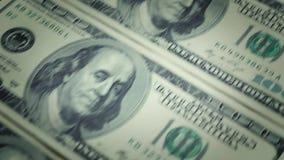 La devise et les finances encaissent la comptabilité 100 dollars US banque de vidéos