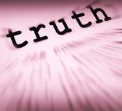 La définition de vérité montre l'honnêteté ou la véracité vraie Photos libres de droits