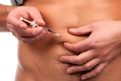 La diabetes hace el tiro de la inyección de la insulina del abdomen Fotografía de archivo libre de regalías