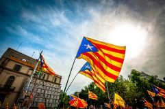 La Diada in the beautiful Barcelona stock image
