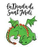 La Diada de Sant Jordi the Saint George`s Day. Traditional festival of Catalonia. Vector illustration of a dradon Royalty Free Stock Photography