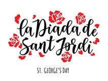 La Diada de Sant Jordi the Saint George`s Day. Traditional festival of Catalonia. Red roses Stock Photo