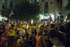 La Diada (den Catalan nationella dagen 2016) Arkivfoton