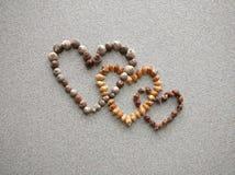 la diagonale trois a relié des coeurs créés avec les coquilles atlantiques d'escargot Photographie stock libre de droits