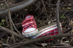 La dialettica e la ricerca scherzano le scarpe nella foresta Fotografia Stock