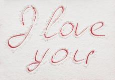 La dichiarazione di amore, dipinta nel rosso Fotografia Stock Libera da Diritti