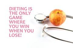 ¡La dieta es el único juego donde usted gana cuando usted pierde! - cita de la salud Foto de archivo libre de regalías