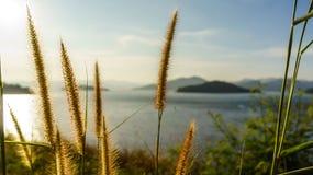 La diga ed il lago a tempo di tramonto, in Tailandia Fotografia Stock