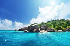 La Digue海岛,塞舌尔群岛 图库摄影