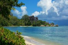 La Digue Seychellerna arkivfoto