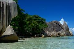 La Digue Seychellerna royaltyfria bilder