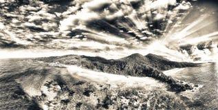 La Digue Seychelles Vista aerea al tramonto Immagine Stock Libera da Diritti