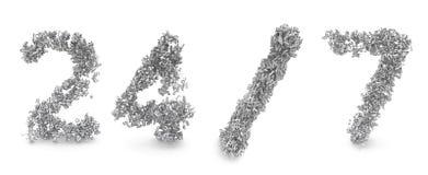 La dimensión de una variable de 24/7 hizo de los números 3d Foto de archivo libre de regalías