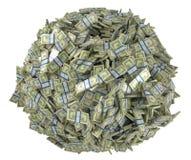La dimensión de una variable de la bola ensambló de manojos de dólar americano Foto de archivo