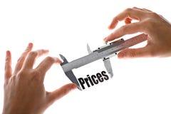 La dimensione dei nostri prezzi Fotografie Stock