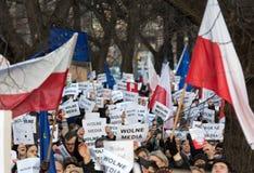 La dimostrazione del comitato della difesa dei mezzi di /wolne di media di democrazia KOD gratis immagini stock