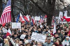 La dimostrazione del comitato della difesa dei mezzi di /wolne di media di democrazia KOD gratis fotografia stock